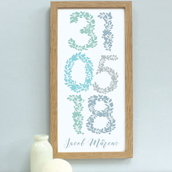 personalised new baby foliage dates print, soft blues