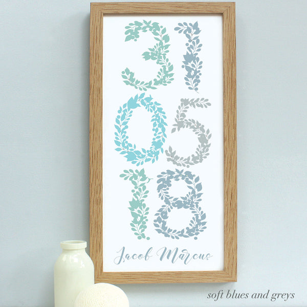 personalised new baby floral dates print, soft blues