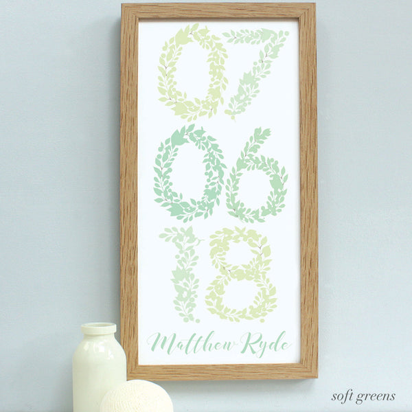 personalised new baby floral dates print, soft green