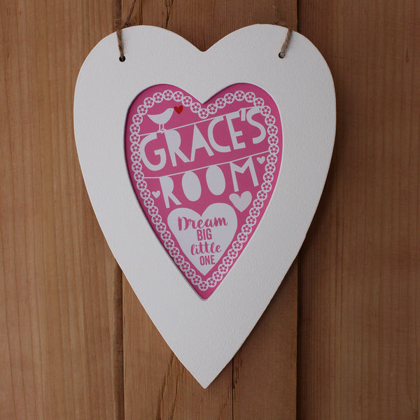 Personalised New Baby Heart Room Sign