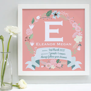 Personalised New Baby Framed Initial Print