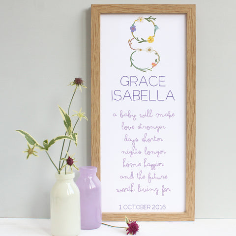 personalised new baby flowers print