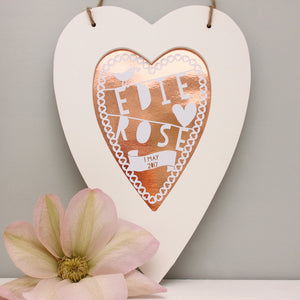 Personalised New Baby Rose Gold Heart