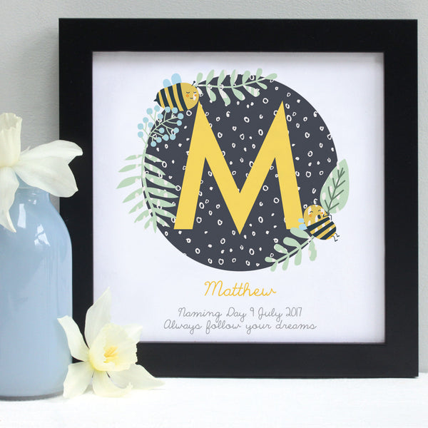 personalised daffodil yellow christening patterns print, black frame