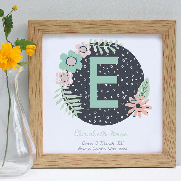 personalised mint christening patterns print, white frame