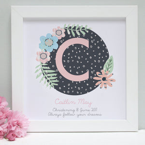 personalised blush christening patterns print, white frame
