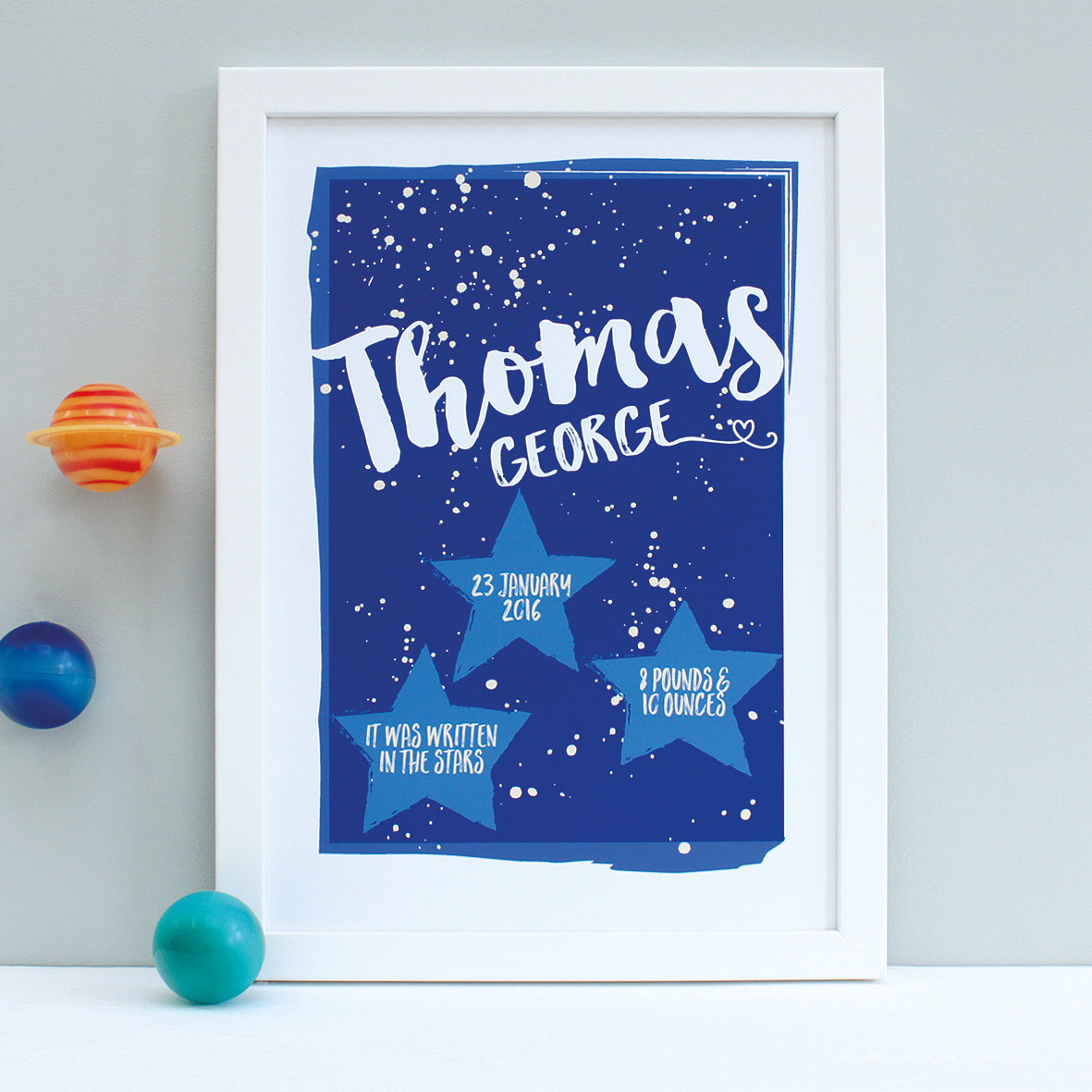 Personalised New Baby Stars Framed Print