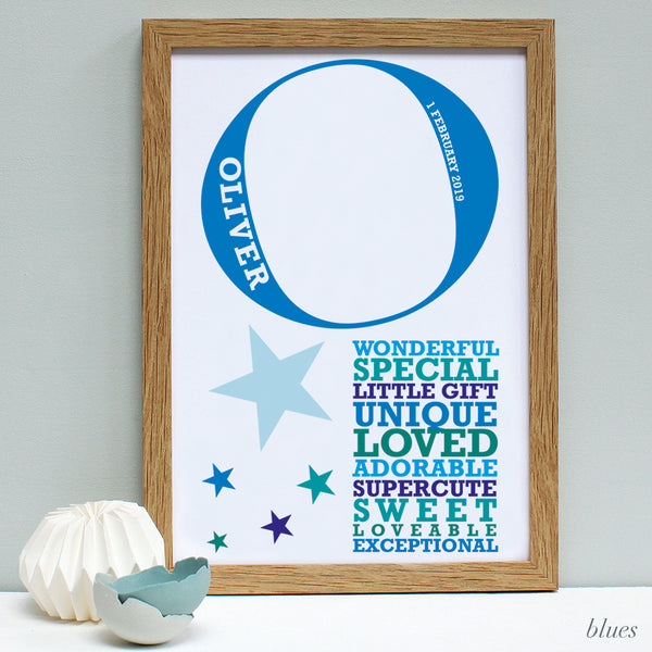 personalised new baby oak framed print