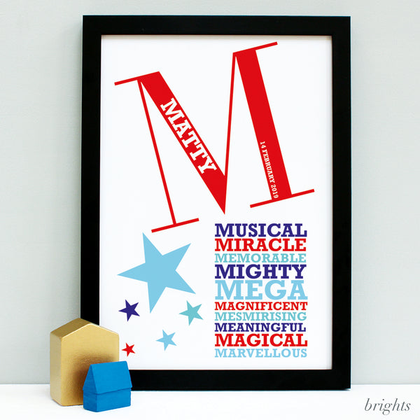 new baby framed print gift bright colours