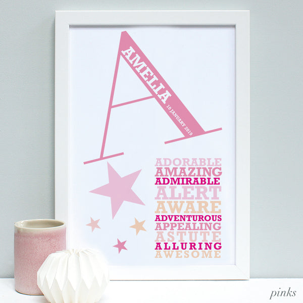 new baby framed print gift pink