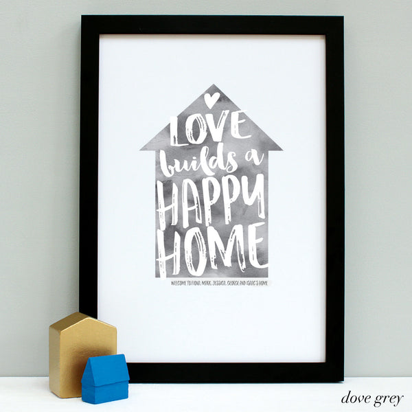 personalised new home quote print, black frame