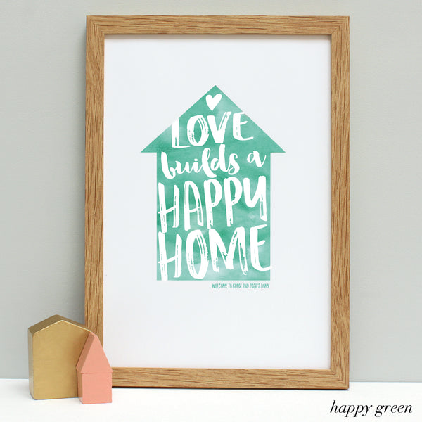 personalised new home quote print, oak frame