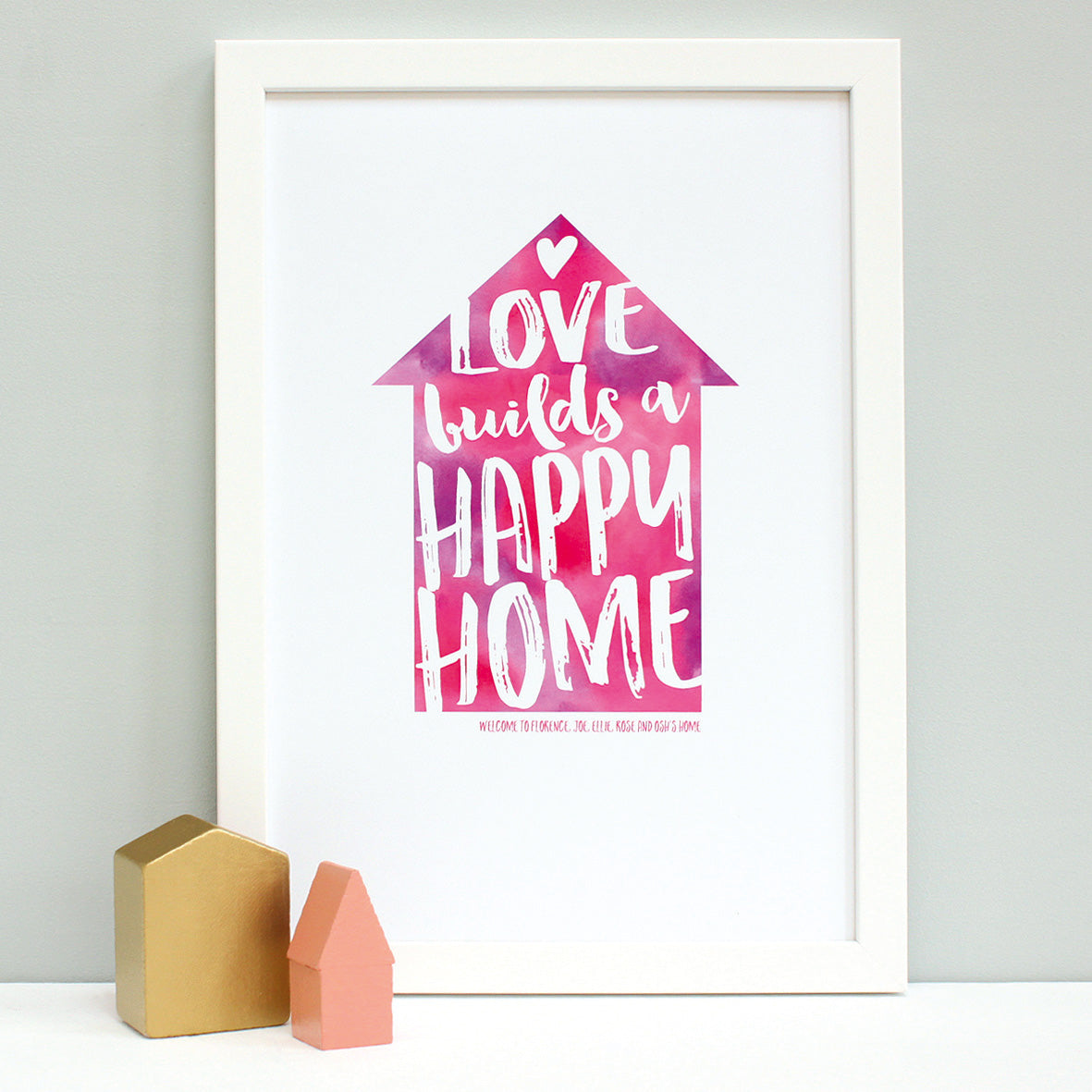 personalised new home quote print, white frame