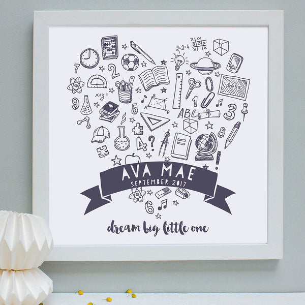 Personalised New School Doodles Framed Print