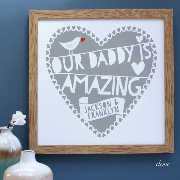 personalised fathers day heart print, dove grey