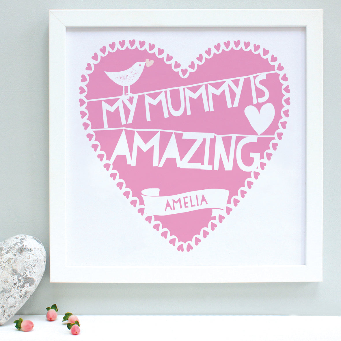 personalised amazing mummy print, raspberry