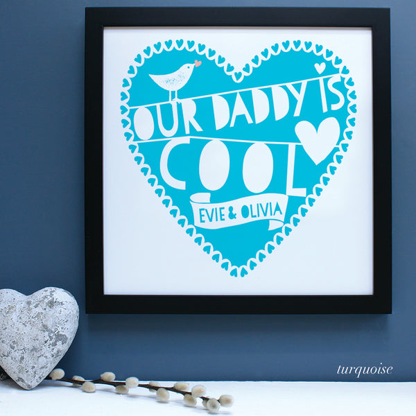 personalised fathers day heart print, turquoise
