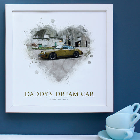 Personalised Dad's Dream Car Framed Print