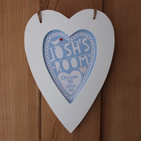 personalised powder blue child's room print, white heart frame