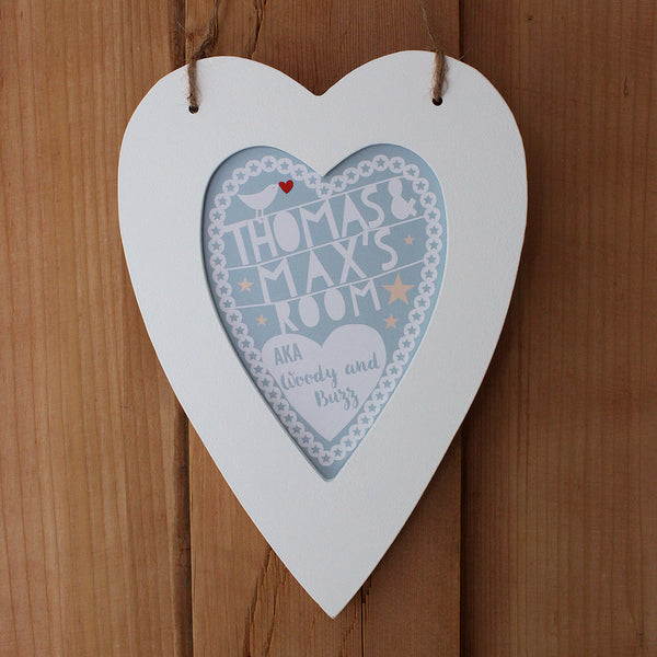 personalised dove child's room print, white heart frame