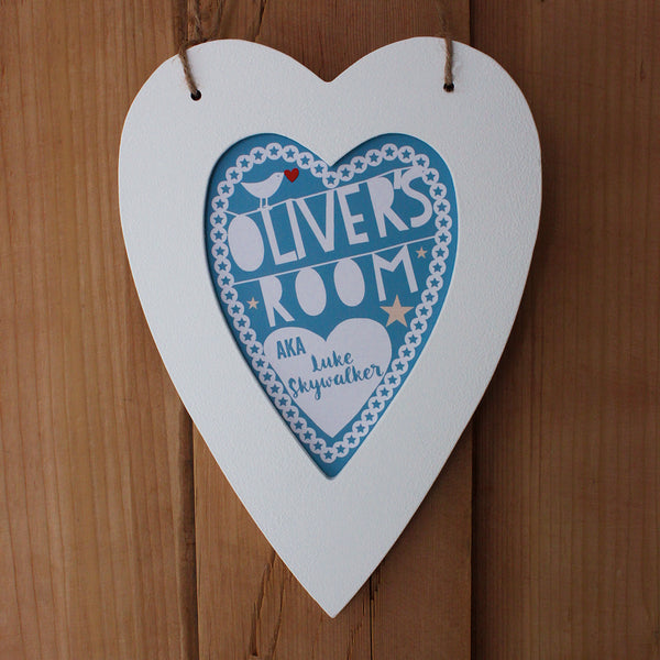 personalised teal child's room print, white heart frame
