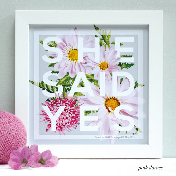 personalised pink daisy engagement print, white frame