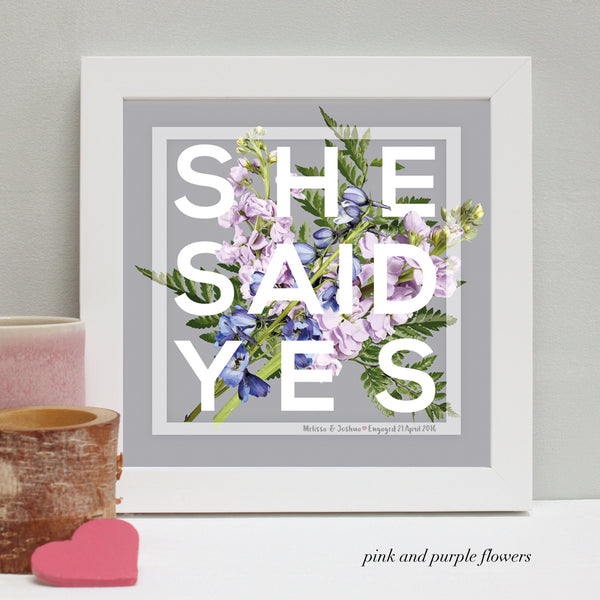 personalised pink and purple flowers engagement print, white frame