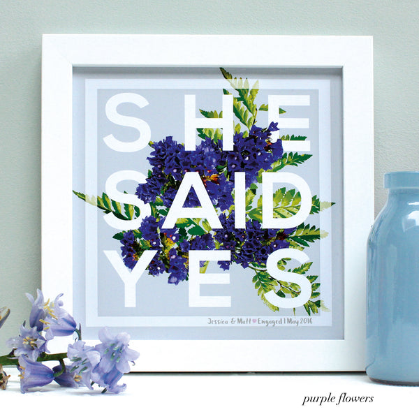 personalised purple flowers engagement print, white frame