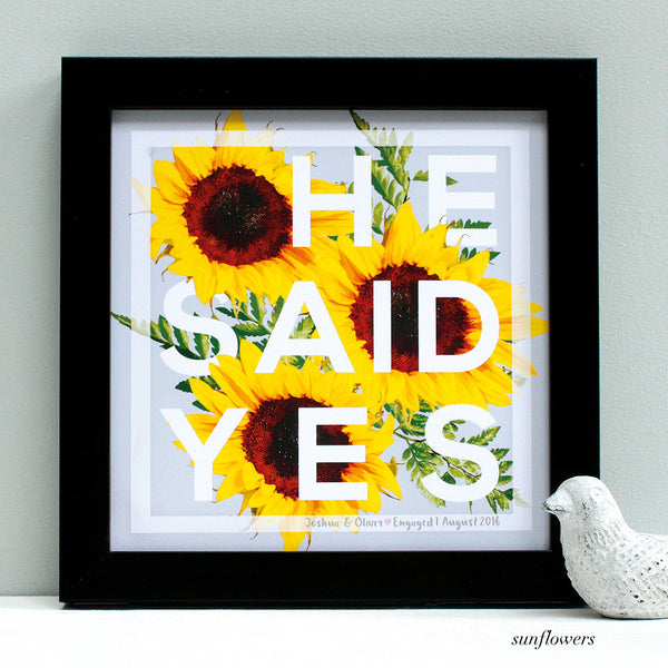 personalised sunflowers engagement print, black frame
