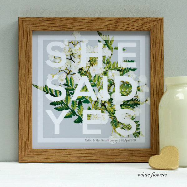 personalised white flowers engagement print, oak frame
