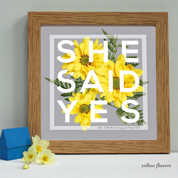 personalised yellow flowers engagement print, oak frame