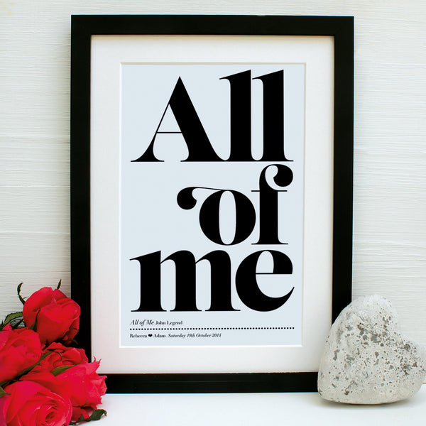 personalised favourite song print, black frame