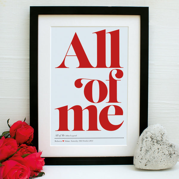 personalised favourite song print, diva red