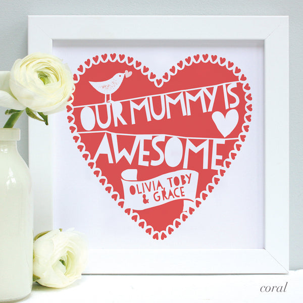 personalised awesome mummy print, coral