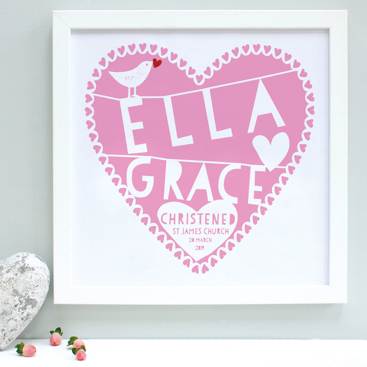 personalised raspberry christening heart print, white frame