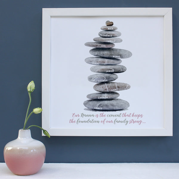 Personalised Pebbles Family Tree Framed Print