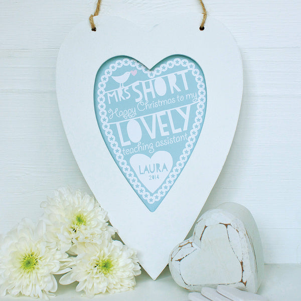 Personalised Teacher Heart Framed Print
