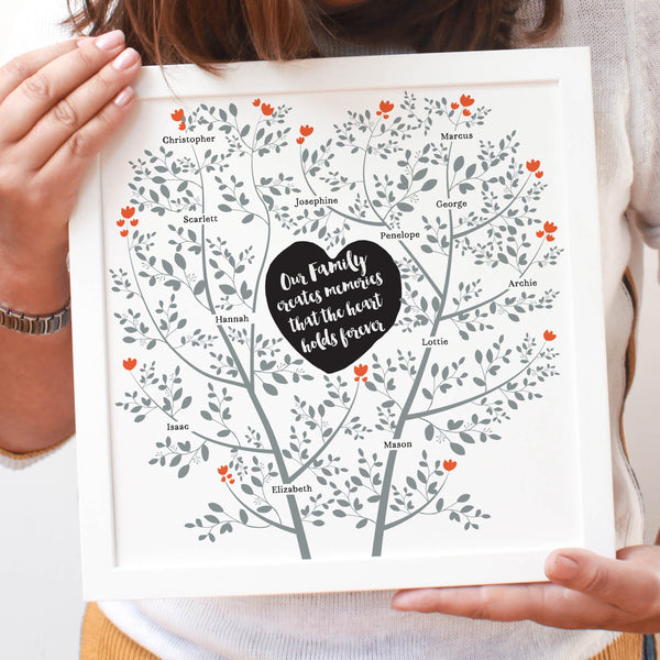 Personalised Family Memory Tree Framed Print