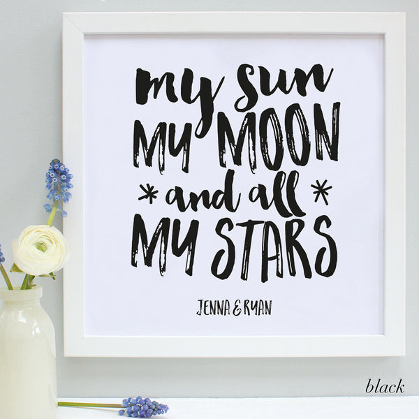 Personalised Valentine Moon and Stars Framed Print