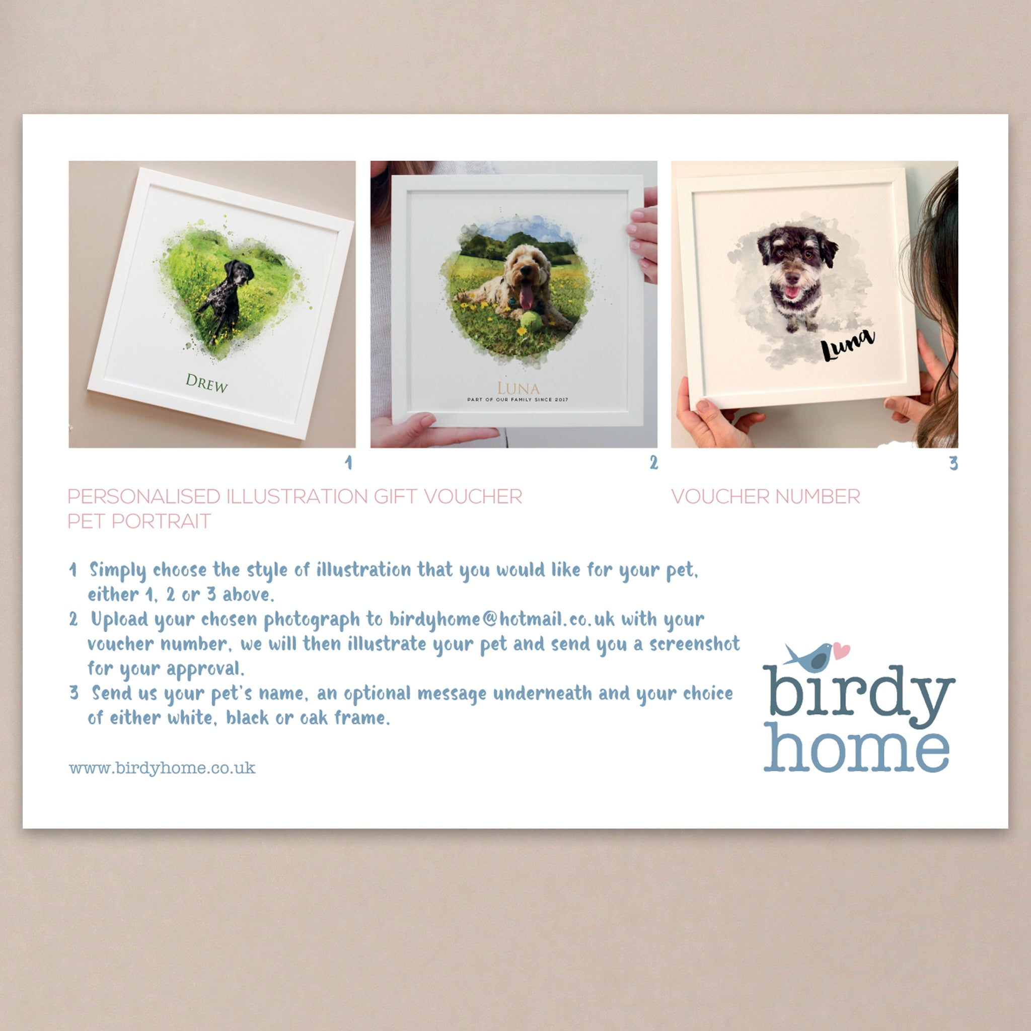 Personalised Watercolour Illustration Gift Voucher