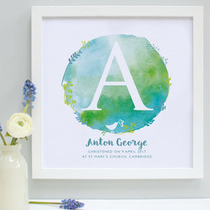 personalised green and aqua christening print, white frame