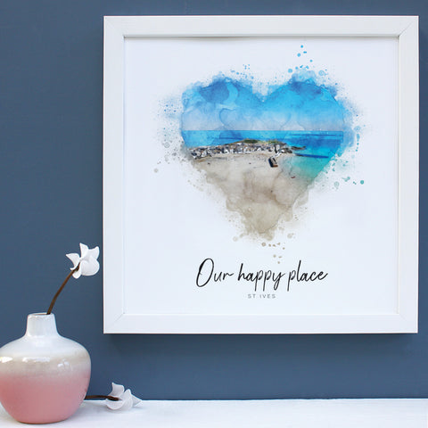 happy place watercolour framed print