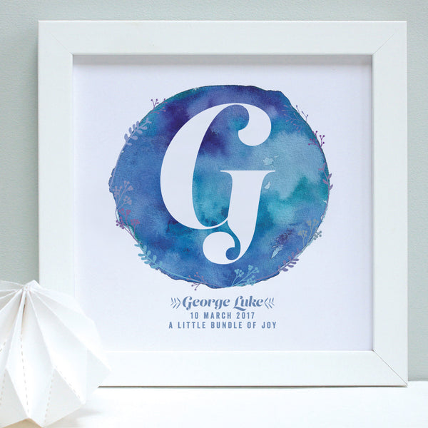 Personalised New Baby Watercolour Framed Print
