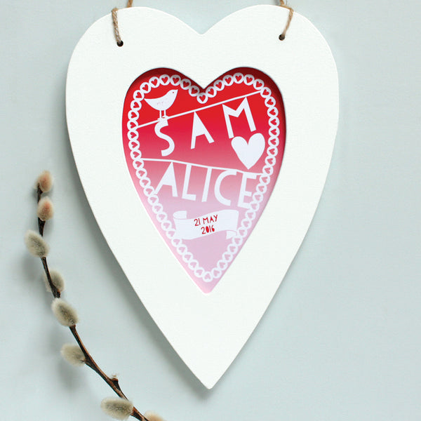 Personalised Wedding Graduated Heart Print