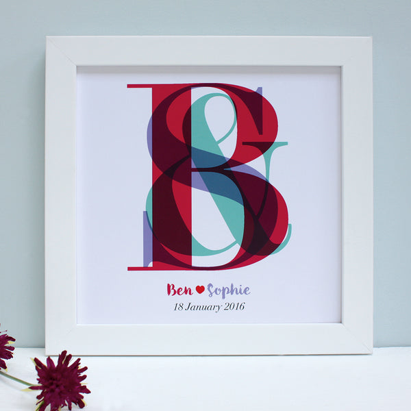 Personalised Wedding Overlapping Monogram Framed Print