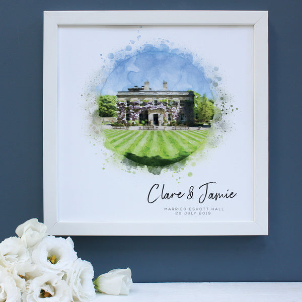 Personalised Wedding Venue Watercolour Framed Print