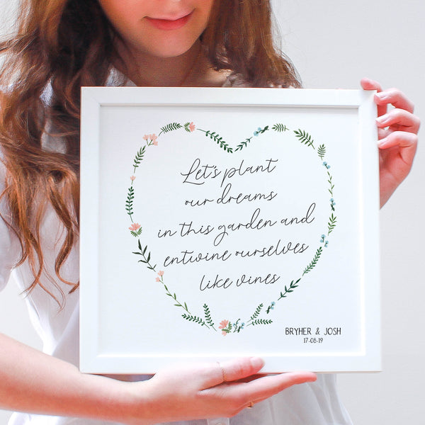 Personalised Wildflower Heart Framed Print