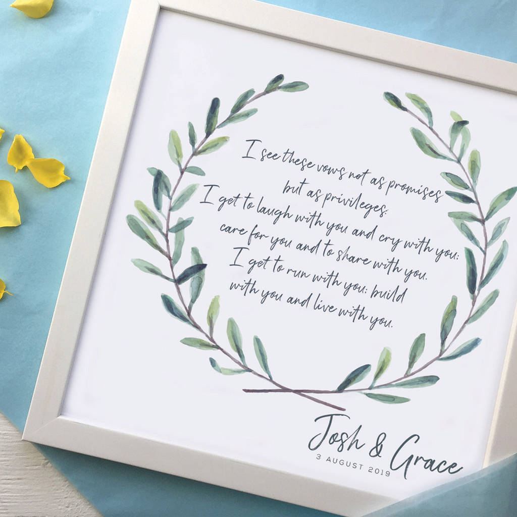 Personalised Wedding Vows Framed Print Birdyhome Co Uk