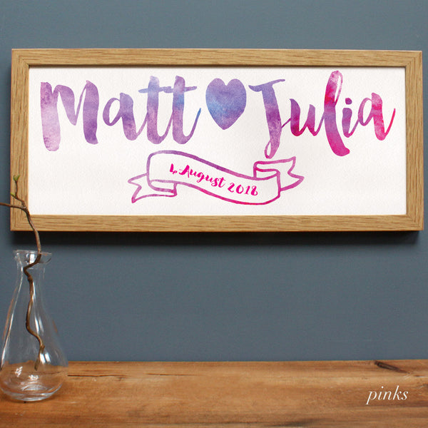 Personalised Wedding Watercolour Framed Print