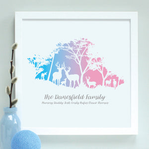Personalised Woodland Deer Family Framed Print